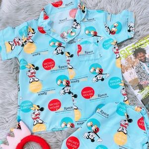 Blue Mickey mouse women sleepwear PJ